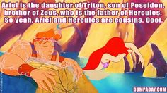 Ariel and Hercules are cousins! Red hair must run in the family.