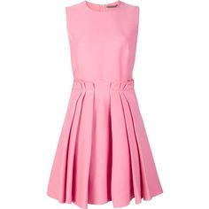 Alexander McQueen pleated skirt skater dress (€1.300) ❤ liked on Polyvore featuring dresses, pink dress, zip back dress, back zipper dress, pink sleeveless dress and sleeveless dress