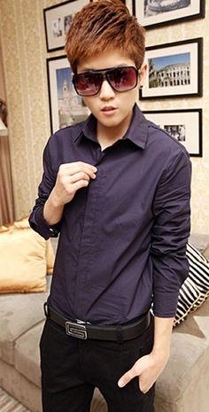 New Style Long Sleeve Small Collar Pure Color Navy Cotton Dress Shirt M/L/XL/XXL @200SJ01010n