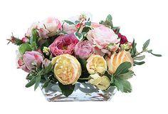 "8"" Roses in Rectangular Glass Vase | Brilliant Bouquets | One Kings Lane"