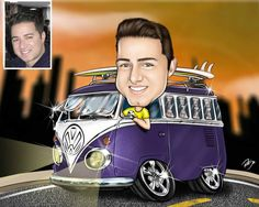 Caricaturas digitais, desenhos animados, ilustração, caricatura realista: Caricatura individual com veículo !!