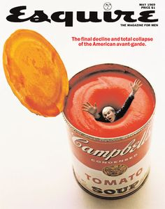Andy Warhol on the May 1969 cover of Esquire magazine. Design by George Lois. Andy Warhol, Cultura Pop, Pop Art, Cool Magazine, Magazine Covers, Gravure Illustration, Magazin Design, Grafik Design, Photomontage