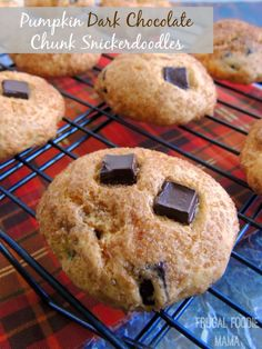 Pumpkin Dark Chocolate Chunk Snickerdoodles via thefrugalfoodiemama.com - Soft, pillowy cookies with a hint of sweet pumpkin & chunks of dark chocolate are baked within a sugary spiced crust