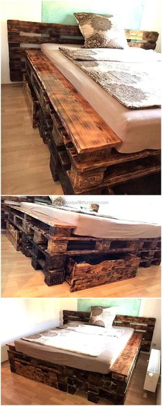 pallets wooden made bed