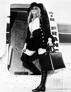 missbrigittebardot: Brigitte Bardot boarding an Air France flight, Brigitte Bardot, Bridget Bardot, Romain Gary, Marianne Faithfull, Raquel Welch, Catherine Deneuve, French Actress, Press Photo, Paris
