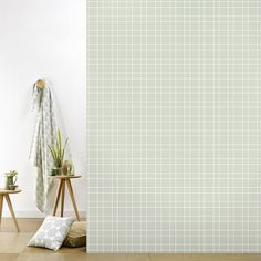 Roomblush behang wallpaper grid grey behangpapier woonkamer slaapkamer interieur design muurdecoratie