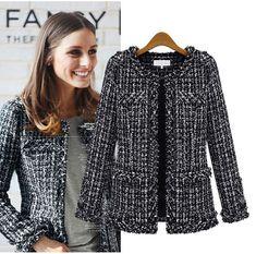 Image result for chanel black tweed jacket
