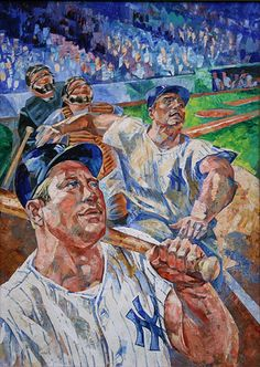 Mickey Mantle:Roger Maris, casein on board by Russell Hoban, unpublished TIME cover art Baseball Posters, Baseball Art, Yankees Fan, New York Yankees, Damn Yankees, Diamonds In The Sky, Quirky Art, Mickey Mantle, Sports Art
