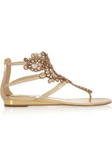 René Caovilla Swarovski crystal-embellished leather sandals | NET-A-PORTER