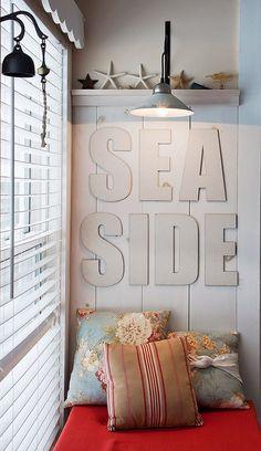 Seaside lona Cartas cubiertos, decoración náutica, tipografía, letras grandes, Home Decor, Cottage