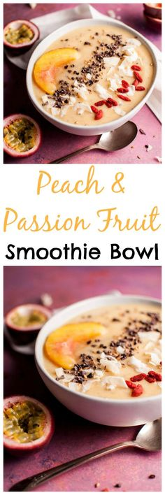 This peach and passion fruit smoothie bowl makes a healthy breakfast or snack. A great way to enjoy fresh summer peaches!