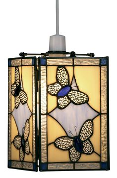 Rectangle Butterfly Mosaic Tiffany Glass Pendant Shade Light Lamp Home Decor