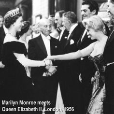 Queen Elizabeth meets Marilyn Monroe, 1956. Way too much fierceness in this photo.