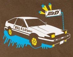 Initial D Toyota Trueno vintage style brown shirt tee Tshirt