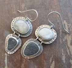 Dangle Earrings Beach Stone Sterling Silver Funky by artdi on Etsy, $98.00