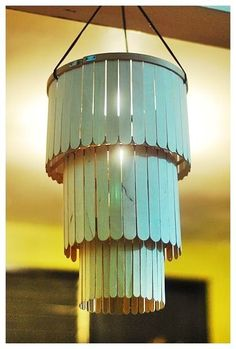 Make a chandelier from popsicle sticks! You could cut the ends blunt if you don't like that look. Upcycle/Recycle/Repurpose