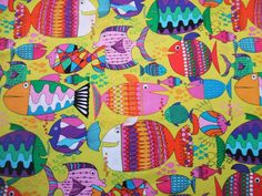 Timeless Treasures Colorful Cartoon Fish by AliceInStitchesArts, $10.25