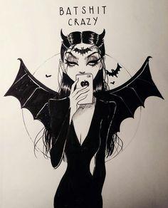 Bat shit crazy💀 Uploaded by (Art not mine) Art Goth, Comic Art, Dibujos Dark, Desenhos Halloween, Tim Burton Art, Arte Do Kawaii, Dark Art Drawings, Halloween Art, Horror Art