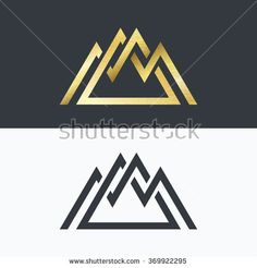 Overlapped line mountains' symbol. Golden and monochromatic vector signs, logotypes.  - stock vector