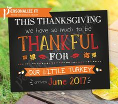 Thanksgiving Pregnancy Announcement Sign Poster Chalkboard Thankful Turkey // Personalized Printable // 8x10 OR 11x14 // Custom Colors