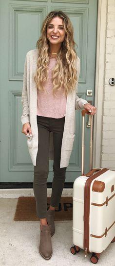 #summer #outfits Beige Cardigan + Pink Top + Dark Skinny Jeans