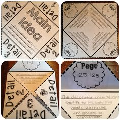 Main Idea foldable—fun way to practice citing textual evidence! Reading Lessons, Reading Strategies, Reading Skills, Teaching Reading, Reading Comprehension, Guided Reading, Learning, Teaching Main Idea, Teaching Ideas