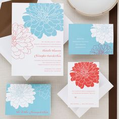 Passionate Peony Wedding Invitation | #exclusivelyweddings | #turquoisewedding