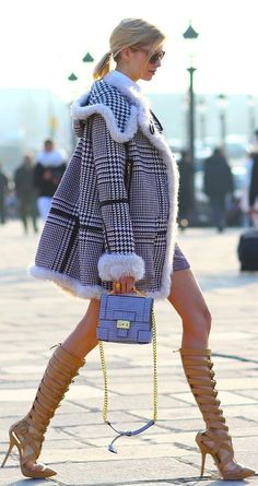 Love this whole winter/fall look! Her jacket with a little plaid purse and nude gladiator heels...get in my CLOSET!!(of course minus the girl)