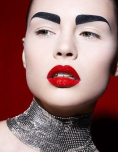 Strong brows & red lips perfect combination