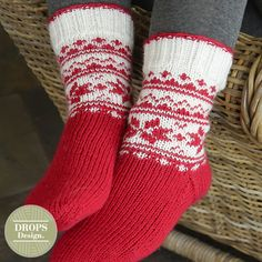"""Merry and Warm pattern by DROPS design DROPS Christmas: Knitted DROPS socks with Norwegian pattern in """"Karisma"""" // tamara morozova Knitting Patterns Free, Free Knitting, Knitting Socks, Crochet Patterns, Free Pattern, Drops Design, Knitted Christmas Stockings, Christmas Knitting, Christmas Sock"""