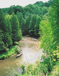 In the heart of the Manistee Ntl. Forest - Northwood's of upper Michigan by the Pine & Big Manistee Rivers, Tippy Dam area.  Fish (salmon - steelhead - panfish), Canoe, Kayak, Hike, Hunt, ATV,Morel Mushroom Hunt.  50-30-20 full, water-electric, rustic sites & full housekeeping cabins.  Holiday weekend activities. Large sites - CLEAN facilities.  Big rig, kid & pet friendly. www.twinoakscamping.com