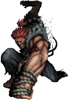 Akuma: blue costume, beaded necklace, brown gloves optional, red wig