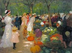 Market Under Trees, Ethel Carrick Fox (1872-1952), British Australian Artist.