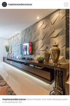 TV room with a wonderful panel, all clad in The rack with unique design … – Home Decor&Remodel Tv Wall Design, House Design, Design 3d, Living Room Theaters, Living Room Tv Unit Designs, Apartment Living, Home Interior Design, Living Room Decor, Decoration