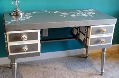 Couldn't agree more ...  Silver Metallic Desk with White Vines and by UniquitiesFurniture, $995.00 - Could make this myself with an old desk, some paint, and a stencil