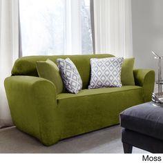 sure fit maude onepiece stretch sofa slipcover boysenberry geometric