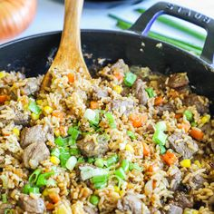 Better than takeout and SO EASY! This Steak Fried Rice is a family favorite recipe. It is made in just one pan so it is quick to make and clean up, and everyone always cleans their plate. This is one of our favorite beef dinner recipe ideas! Beef Recipes For Dinner, Sausage Recipes, Turkey Recipes, Soup Recipes, Salad Recipes, Healthy Recipes, Ham Recipes, Chickpea Recipes, Pudding Recipes