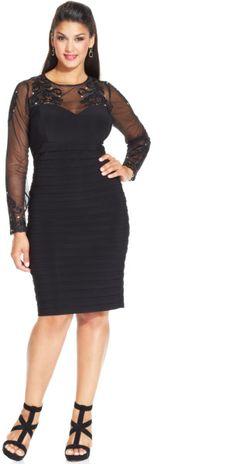 Xscape Plus Size Illusion Embellished Sheath in Black