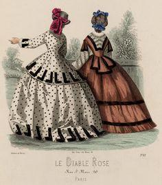 Fashion plate, 1860's France, Le Diable Rose