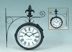 Amazon.com: London Kensington Station Railroad 2 Faced Double Sided Solar Wall Clock: Furniture & Decor
