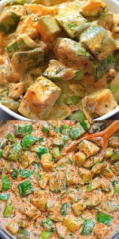 Healthy Dinner Recipes Discover Creamy Zucchini Recipe This Creamy Zucchini Sauce is bursting with flavor! Made with paprika-roasted zucchinis sour cream garlic and fresh herbs it tastes great with pasta over rice or just with a slice of bread. Veggie Recipes, Lunch Recipes, Diet Recipes, Cooking Recipes, Healthy Recipes, Vegetarian Zucchini Recipes, Vegetarian Recipes Videos, Healthy Tasty Food, Health Food Recipes