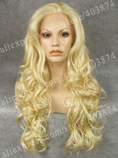 44.20$  Buy here - http://ali1ll.worldwells.pw/go.php?t=2006182233 - N5-613# Long Body Wavy Texture Synthetic Lace Front Wig for Cosplay Party Bright Blonde Color Stunning Lace Wig