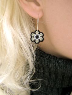 Silver Night Floral Earrings By AmaltheaCph, Danish design Www.amaltheacph.etsy.com