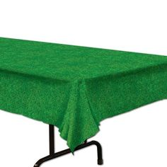 Grass Table cover. Disposable Plastic Decorations Supplies for golf, football, baseball, sports, or Minecraft Inspired party.
