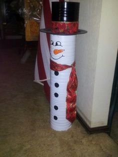 Snowman hat made with a coffee can and plastic plate. Description from pinterest.com. I searched for this on bing.com/images