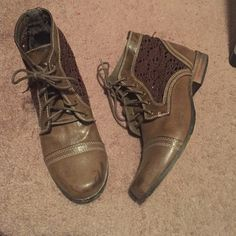Booties Ladies booties with lace detail. Color is a grayish/chocolate. Shoes Combat & Moto Boots
