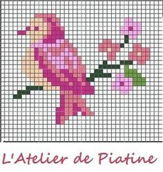 grille oiseau - free bird cross-stitch pattern. Nx