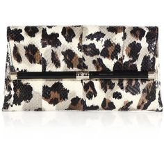 Diane von Furstenberg 440 Leopard-Print Snake-Embossed Leather... ($288) ❤ liked on Polyvore featuring bags, handbags, clutches, purses, apparel & accessories, leopard, leather handbags, leopard print envelope clutch, white envelope clutch and leopard handbag