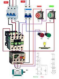 Esquemas eléctricos: Marcha paro trifasico motor 380v potencia 220v man...