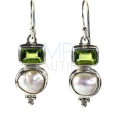 Analeigh Green Peridot and White Shell Earrings -  You'll forever love these classic two-tiered green peridot and white shell earrings. On the first tier, a rectangular facet cut green peridot shines brightly and a natural shaped round white shell glistens on the second-tier. http://simplybeautiful2012.com/analeigh-green-peridot-and-white-shell-earrings.html#